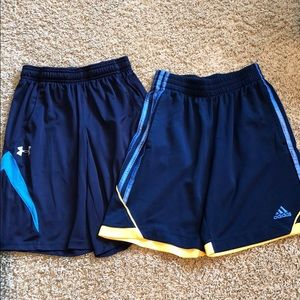 Lot of 2 boys athletic shorts 10-12. Adidas, UA.